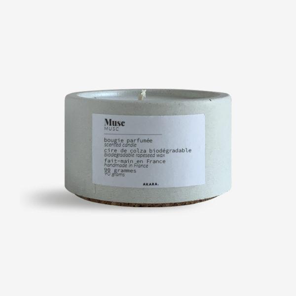 Bougie parfumée en béton - Musc - 90 grammes