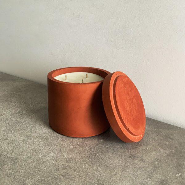 Bougie parfumée en béton couleur Terracotta, taille L
