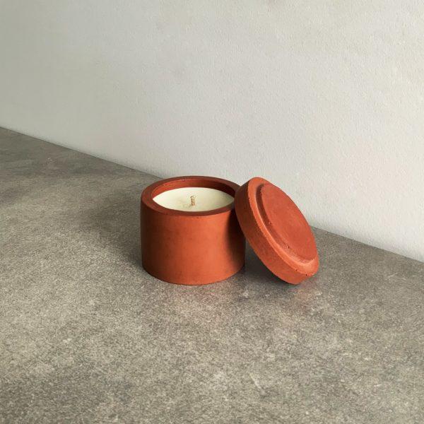 Bougie parfumée en béton couleur Terracotta, taille S